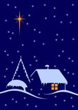 Christmas night. Scene with big star and snow royalty free illustration