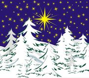 Christmas night. Snow winter landscape with fir trees and stars, background for Christmas Stock Images