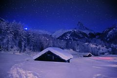 Christmas night in Alps. The popular mountains resort Zermatt in Switzerland Stock Photography