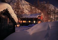 Christmas night in Alps Stock Photo