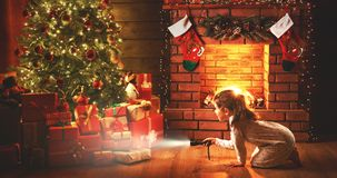 Christmas night. baby girl with a flashlight at night looking fo Royalty Free Stock Photography