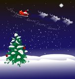 Christmas night background. Christmas night, snow-covered Christmas tree, snow, Santa's team is flying in the sky Royalty Free Stock Images