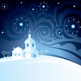 Christmas night background. With church Stock Photos