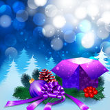 Christmas night background with gift box. And ornaments in the snow Royalty Free Stock Image