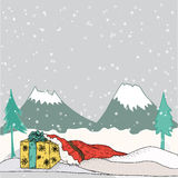 Christmas night - background with gift boxes and baubles in the snow Royalty Free Stock Photos