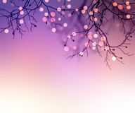 Christmas night background. Glitter and sparkle on winter trees. Festive purple background. Stock Image