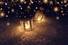 Christmas night background with lights. Lights with candles at night. stock photos