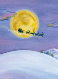 Christmas night background with Santa sleigh Stock Photos
