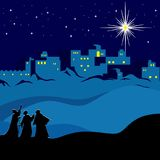 Christmas. Night Bethlehem, wise men following the star of Bethlehem. stock illustration