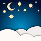 Christmas night. Blue background with golden stars. And moon. EPS10 royalty free illustration