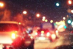 Christmas night blurred. European landscape on the street Stock Photography