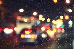 Christmas night blurred. European landscape on the street Stock Image