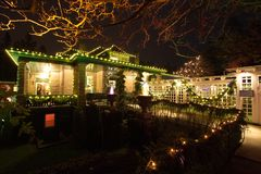 Christmas night in Butchart Gardens, Victoria, BC, Canada - Dece Stock Photography