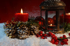 Christmas night candles Stock Photography