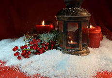 Christmas night candles Stock Photos