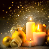 Christmas Night Candles Decoration with Glitter and Baubles Royalty Free Stock Photos