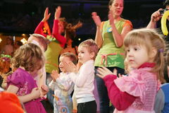 Christmas night. children at a children's party costume, new year's carnival. Royalty Free Stock Image