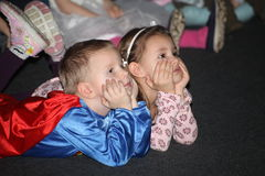 Christmas night. children at a children's party costume, new year's carnival. Stock Image