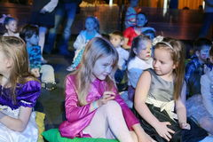 Christmas night. children at a children's party costume, new year's carnival. Royalty Free Stock Photos