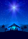 Christmas night. Christian Christmas night with shining star and Jesus, illustration Royalty Free Stock Images