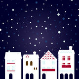 Christmas night city on snowing stock illustration