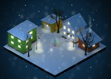 Christmas Night Color Toy Houses Yard stock illustration