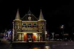 Christmas night decoration at De Waag Royalty Free Stock Photography
