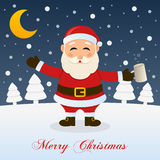 Christmas Night with Drunk Santa Claus stock illustration