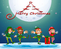 Christmas night with elf and present Royalty Free Stock Photos