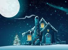 Christmas night with a fabulous house. Illustration of Christmas night with a fabulous house Stock Images