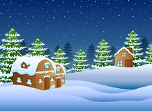 Christmas night with a fir tree and snowy houses. Illustration of Christmas night with a fir tree and snowy houses Stock Images