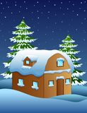 Christmas night with a fir tree and snowy houses. Illustration of Christmas night with a fir tree and snowy houses Stock Image