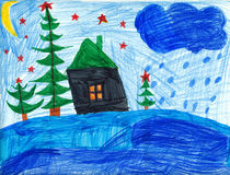 Christmas night in forest. Childrens drawing royalty free illustration