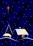 Christmas night with globes. Christmas night scene with big star and snow stock illustration
