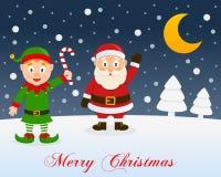 Christmas Night, Green Elf & Santa Claus Royalty Free Stock Image