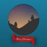Christmas Night greeting Card with red Ribbon. Christmas Night blue paper greeting Card with red Ribbon. Vector Illustration Stock Photo