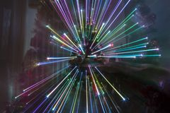 Christmas night at home with fireworks effect and rainbow lights christmas Stock Photos