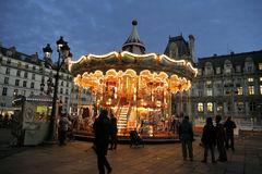 Christmas night illumination of carousel, Paris Royalty Free Stock Photos