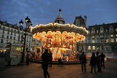 Christmas night illumination of carousel, Paris royalty free stock photos