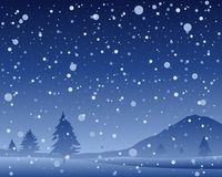Christmas night. An illustration of a beautiful dark snowy night at christmas with scenic hills and fir trees in a snow shower Stock Photo