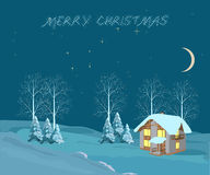 Christmas night, illustration Stock Photo