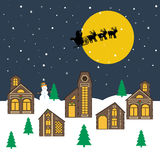 Christmas night illustration. Christmas village and Santa Claus on the sky. Vector illustration Royalty Free Stock Photo