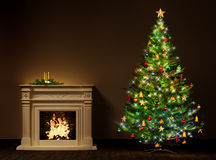 Christmas night interior 3d rendering. Christmas night interior with decorated fir tree and fireplace 3d rendering Royalty Free Stock Photo