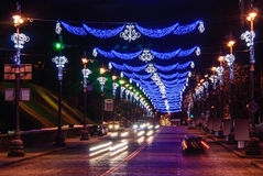 Christmas night in Kiev. Night Street on Christmas Eve. Light illumination Stock Photos