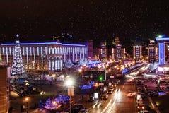 Christmas night in Kiev. Kiev, the view on Christmas Maidan Stock Image