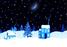 Christmas night landscape background Royalty Free Stock Photography