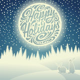 Christmas night landscape. Christmas background with snowflakes, moon, hares and typographic doodle. Happy Holidays vector illustration