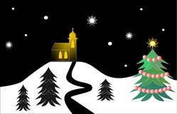 Christmas night landscape Stock Images