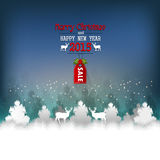 Christmas Night Landscape With Deer. Vector Illustration. Royalty Free Stock Image