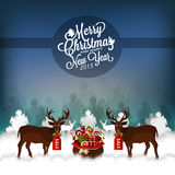 Christmas Night Landscape With Deers And Santa's Gifts. Vector Illustration. Stock Photography